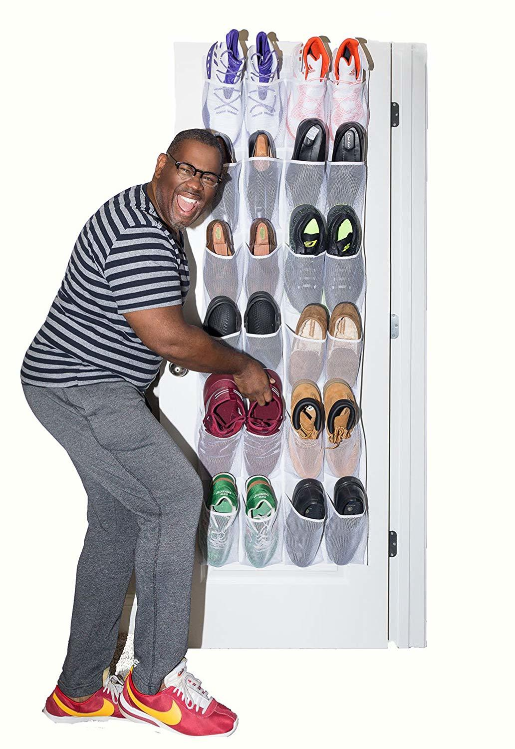 shoe storage hacks this hanging closet shoe organizer & entryway organizer is great for sneaker storage and keeping dorms, kitchens, bedroom tidy with no effort