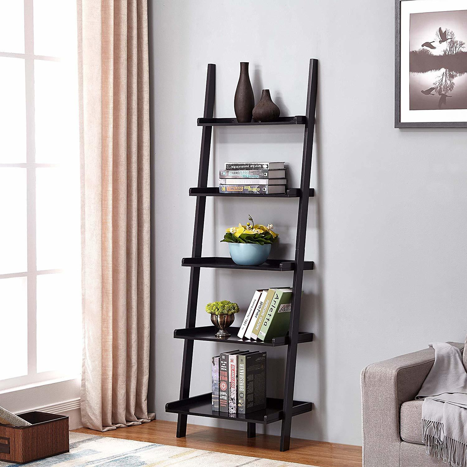 shoe storage hacks features 5-tier of ladder shelving for any home decor