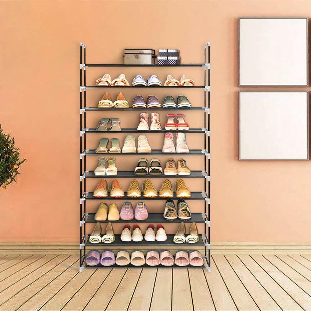 this is constructed from water-proof durable fabric shelving, steel tubes and strong plastics connectors for remarkable reliability and durability, can perfectly satisfy you in daily organization for shoe storage hacks