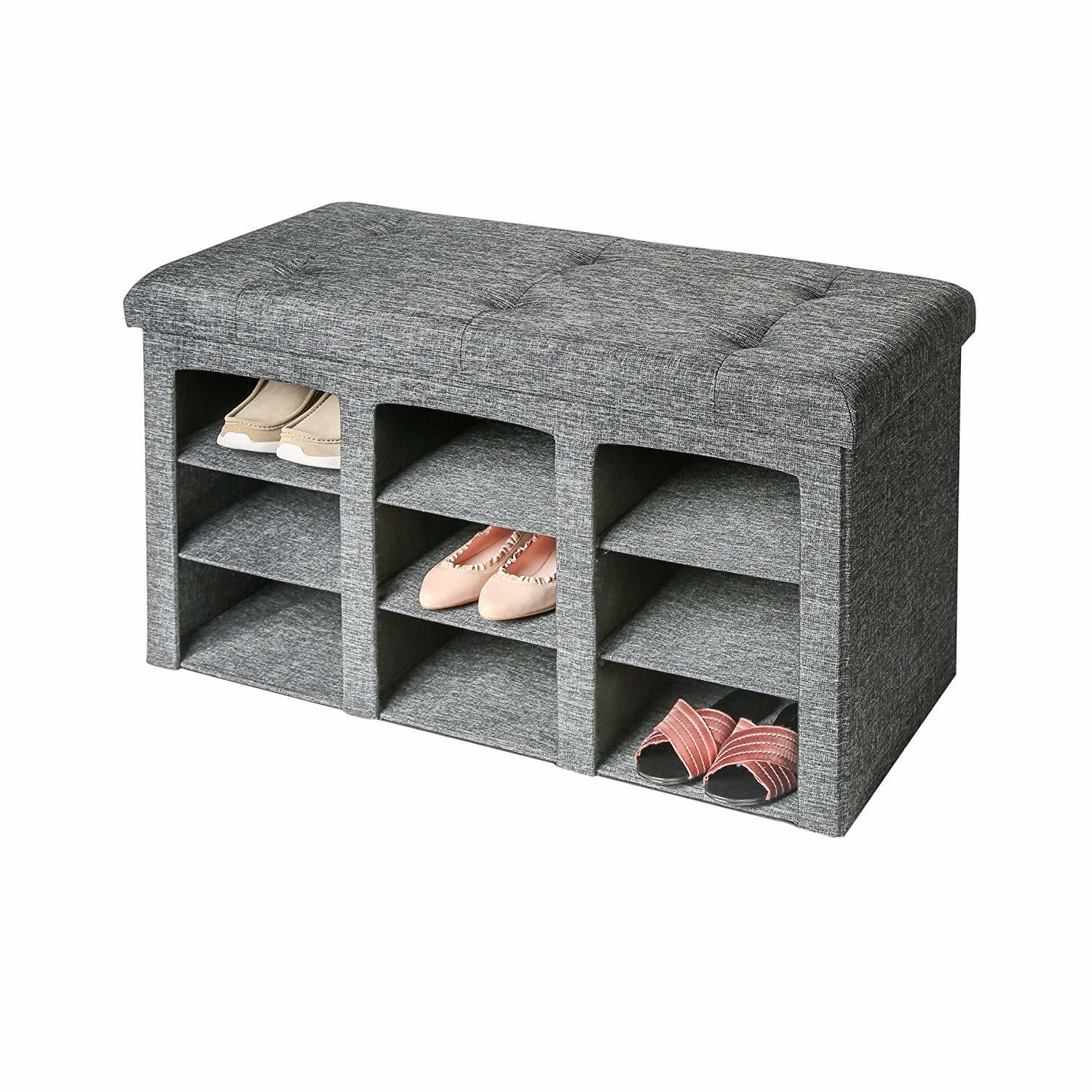 shoe storage hacks with charcoal gray fabric with button-tufted cushioned top and synthetic non-woven fabric for a touch of elegance and comfort.