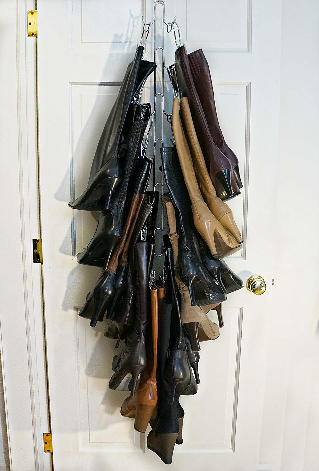 shoe storage hacks features complete vertical boot storage system to keep boots organized and accessible