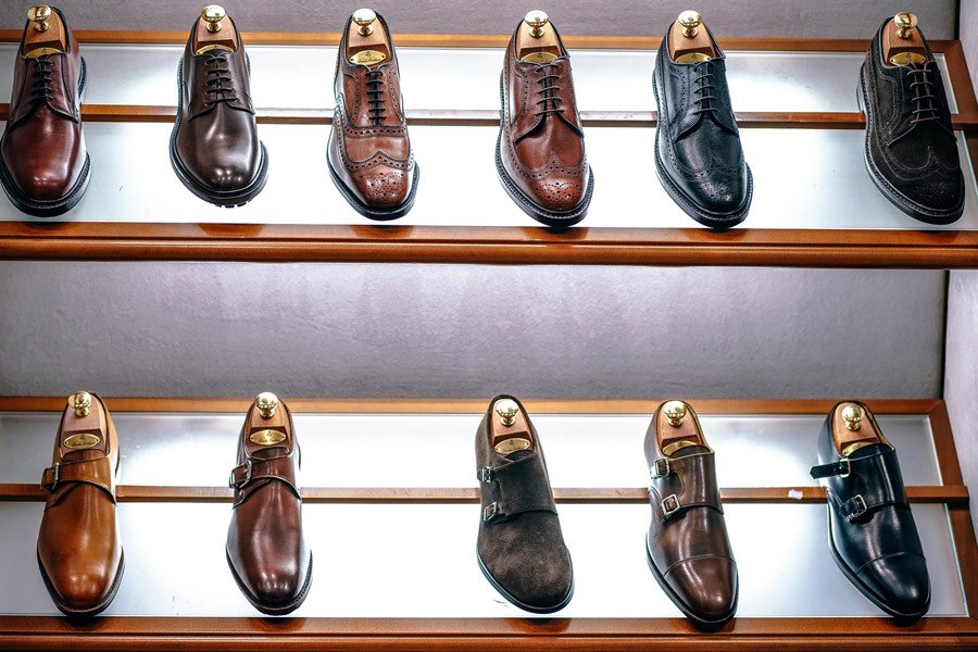 Display of leather shoes in shoe museums