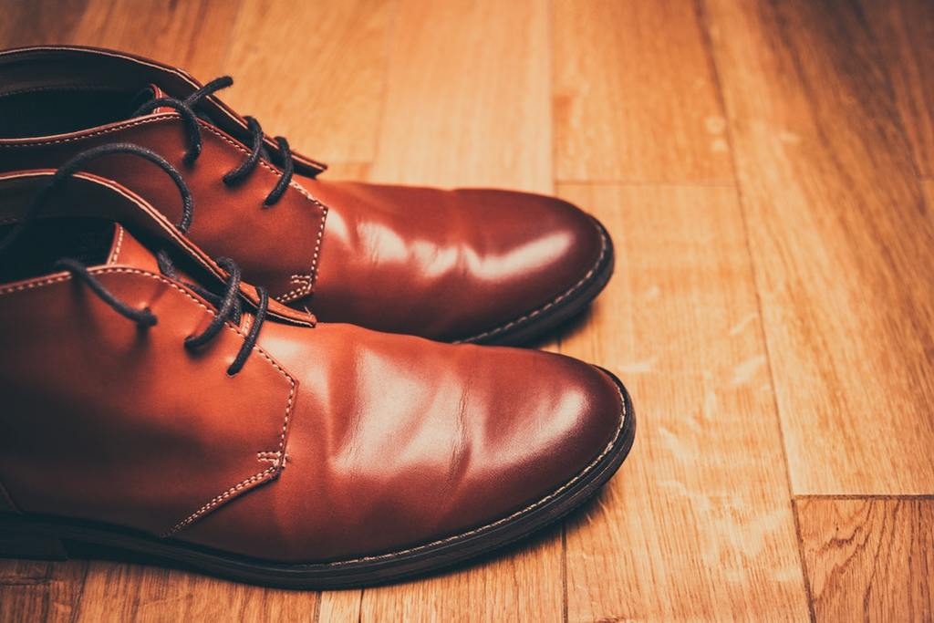 Pair of brown leather lace-up boots